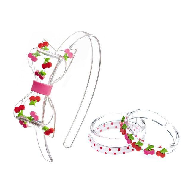 Fat Bow Cherry Headband and Bracelet Bundle