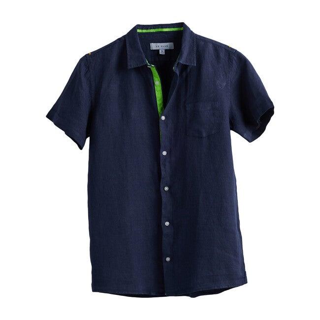 Peter Boys Linen Shirt, Navy - Shirts - 1