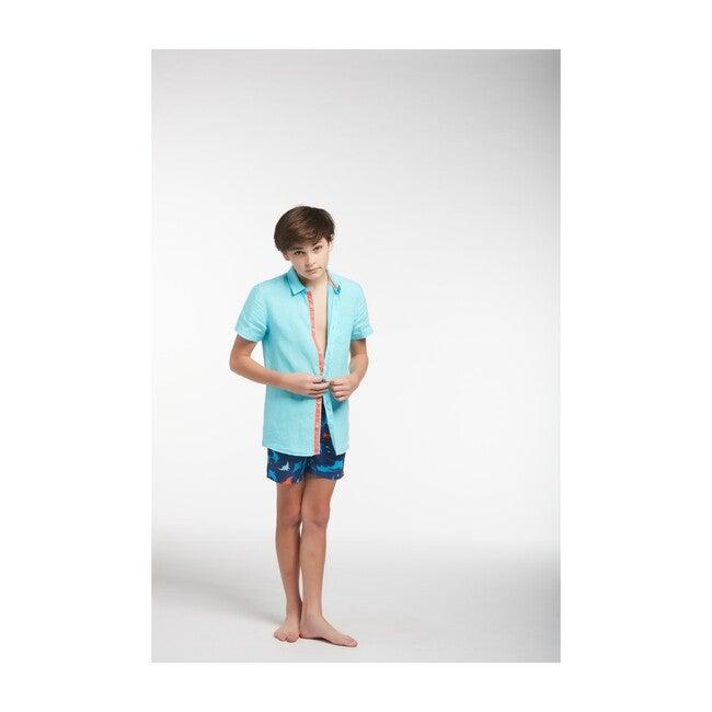 Peter Boys Linen Shirt, Aqua