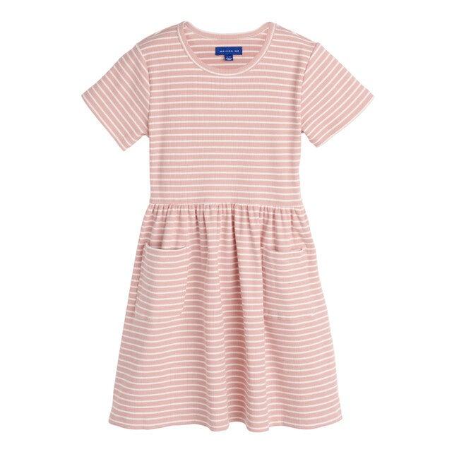 Marla Short Sleeve Ribbed Dress, Dusty Rose & White