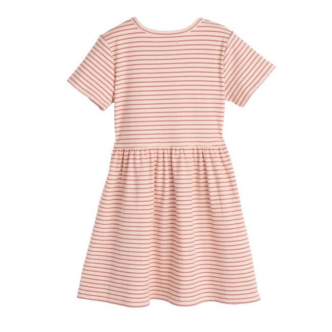 Marla Short Sleeve Ribbed Dress, Natural & Deep Dusty Rose
