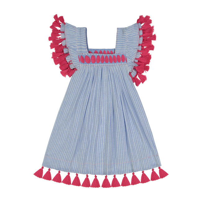 Serena Reversible Tassel Dress, Azure Blue & Stripe