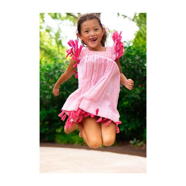 Serena Reversible Tassel Dress, Rose Pink & Stripe