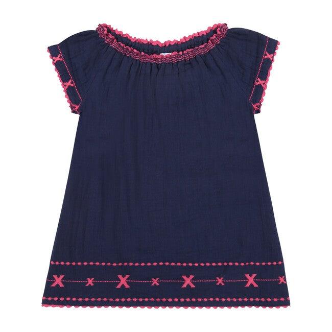 Hadley Smocked Tunic Dress, Navy & Fuchsia