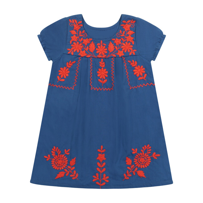Women's Camille Embroidery Tunic Dress, Blue