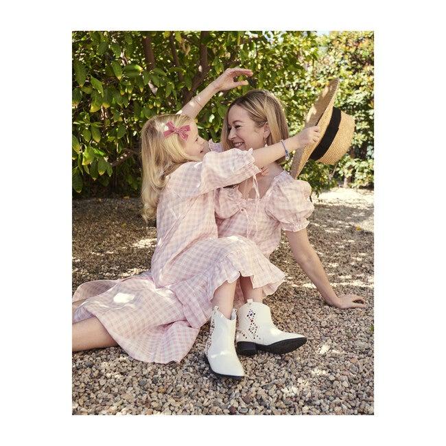 Women's Brigitte Midi Linen Dress, Pink Vichy