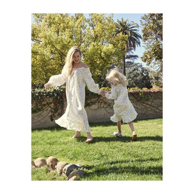 Women's White Linen Loungewear Dress, Daisies