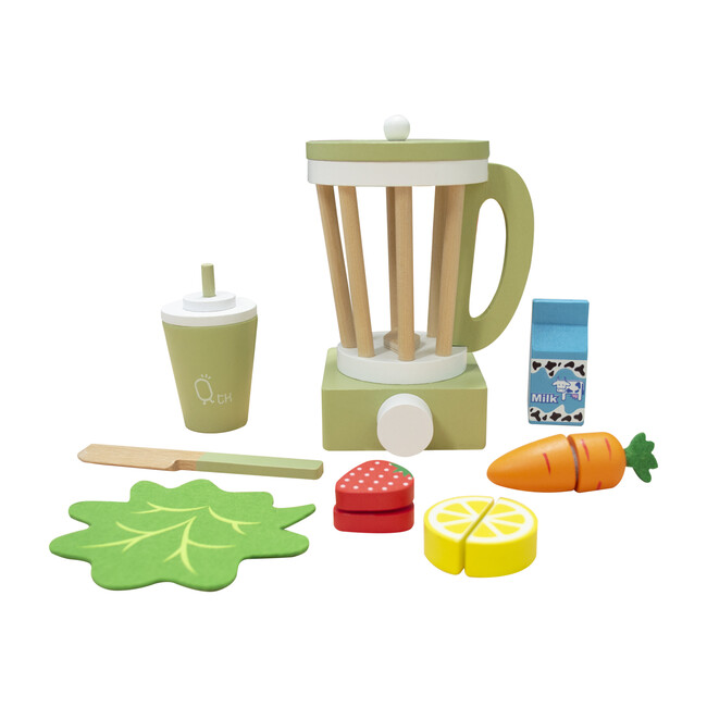 Little Chef Frankfurt Wooden Blender Play Kitchen Accessories, Green