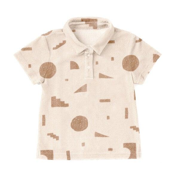 Terry Polo Shirt with Geo Print, Mocha