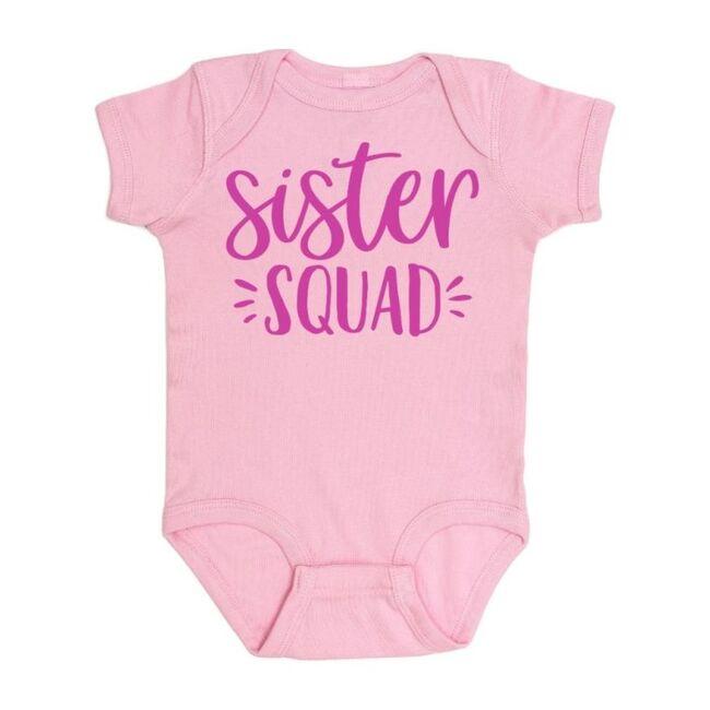 Sister Squad Short Sleeve Bodysuit, Light Pink