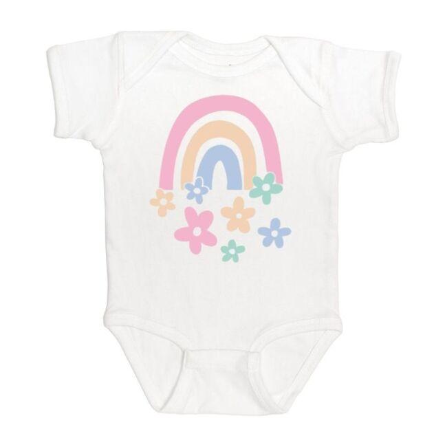 Rainbow Flowers Short Sleeve Bodysuit, White