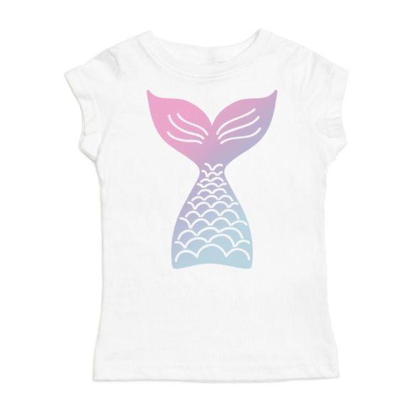 Mermaid Tail Short Sleeve Shirt, White