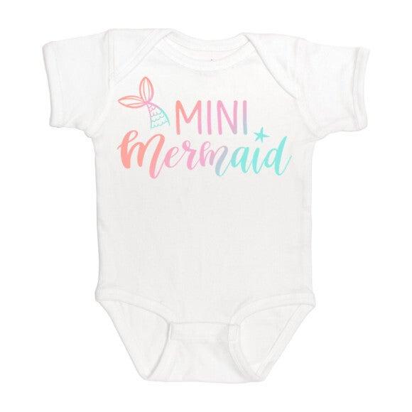 Ombre Mini Mermaid Short Sleeve Bodysuit, White