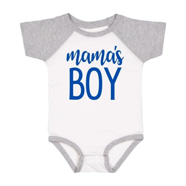 Mama's Boy Short Sleeve Bodysuit, White & Heather