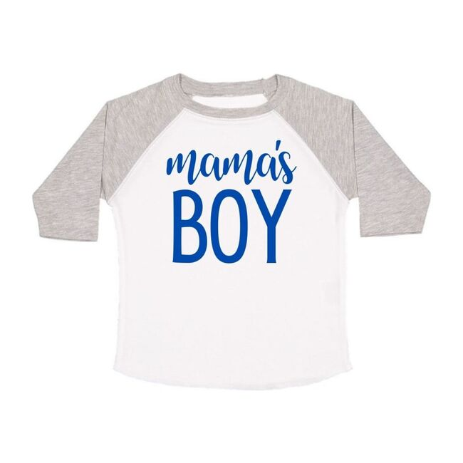 Mama's Boy Long Sleeve Shirt, White & Heather