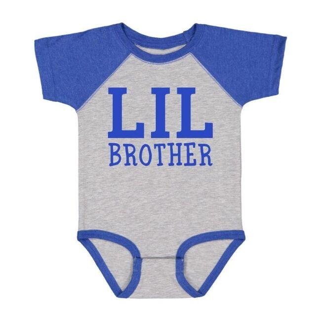 Lil Brother Short Sleeve Bodysuit, Heather & Royal