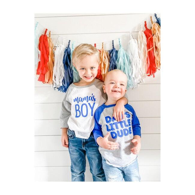 Dad's Little Dude Long Sleeve Shirt, Heather & Royal