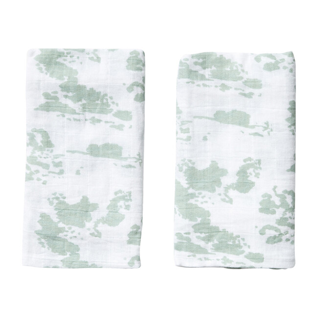 Set of 2 Burp Cloths, Agave Clouds