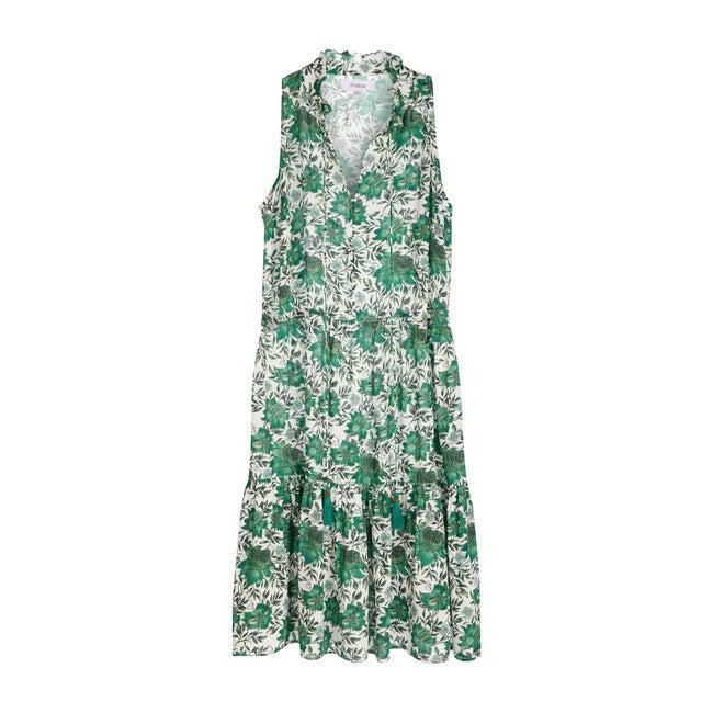 Women's Sienna Midi Dress, Vintage Green Flowers