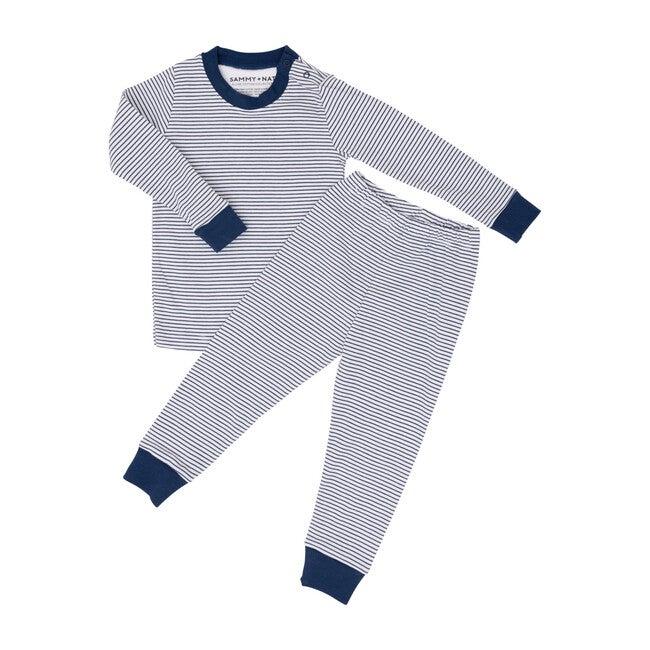 Navy Blue Stripe Two Piece Pajama