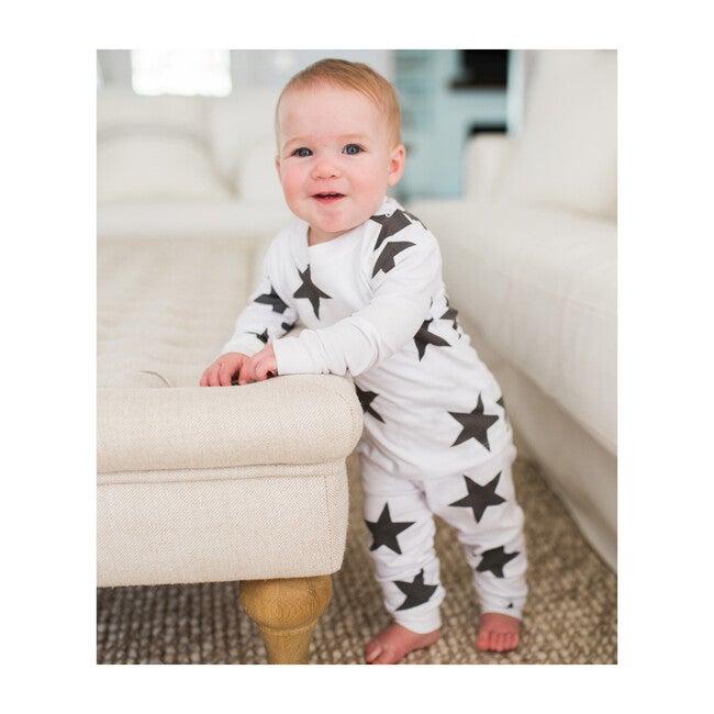 Black Bold Star Two Piece Pajama Set