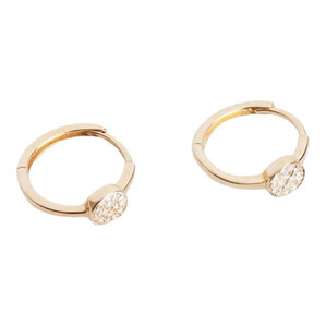 Dot and Line Huggies, 14K Gold