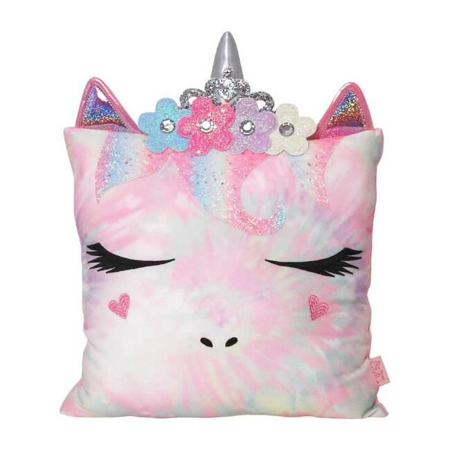 Miss Gwen Flower Crown Ombre Tie Dye Pillow, Pink