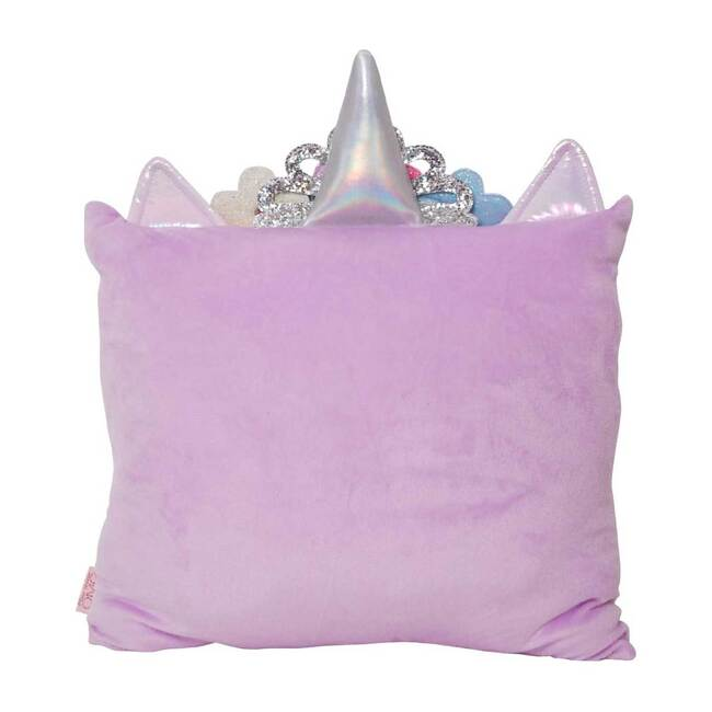 Miss Gwen Flower Crown Ombre Heart Print Pillow, Lavender
