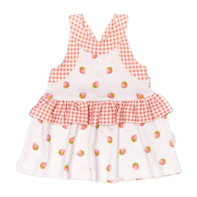 Strawberry Pleated Dress, White