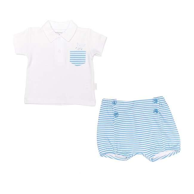 Chic Striped Outfit Set, White