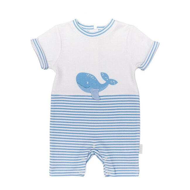 Blue Whale Striped Bodysuit, White