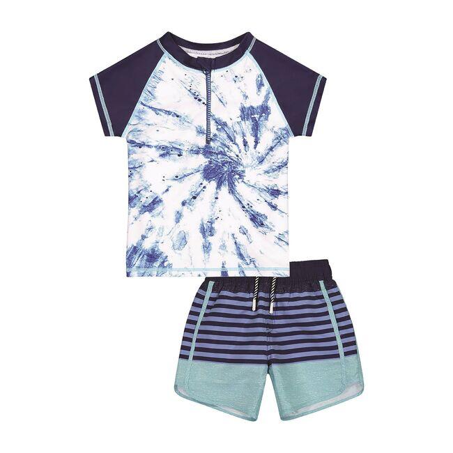 UPF 50 Baby Tie Dye Rashguard Set, Blue