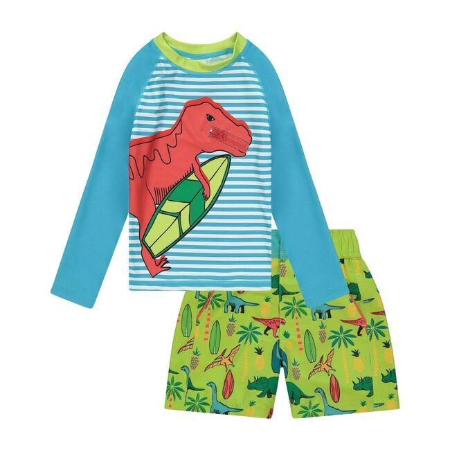 UPF 50 Baby Dino Rashguard Set, Aqua