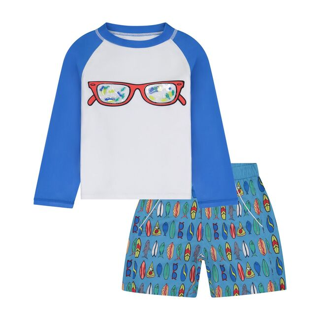 UPF 50 Baby Sunglasses Rashguard Set, Blue