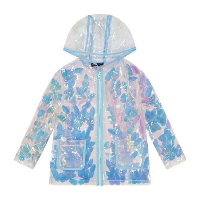 Floral Rain Jacket, Blue Clear