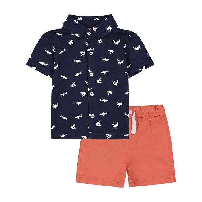 Shark Button Down Set, Navy