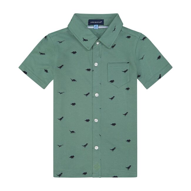 Olive Dino Knit Button Down Shirt, Olive