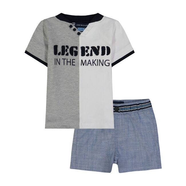 Graphic Henley Tee Shirt Set, Grey and White
