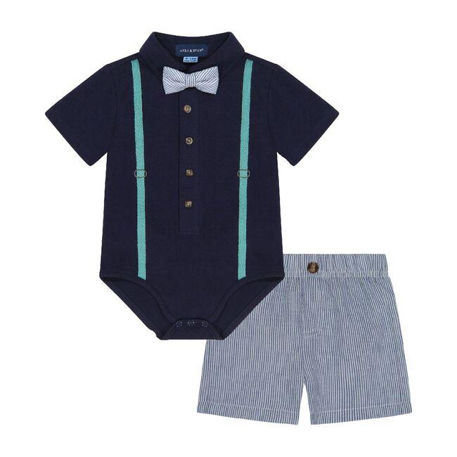 Babys Seersucker Shirtzie Set, Navy
