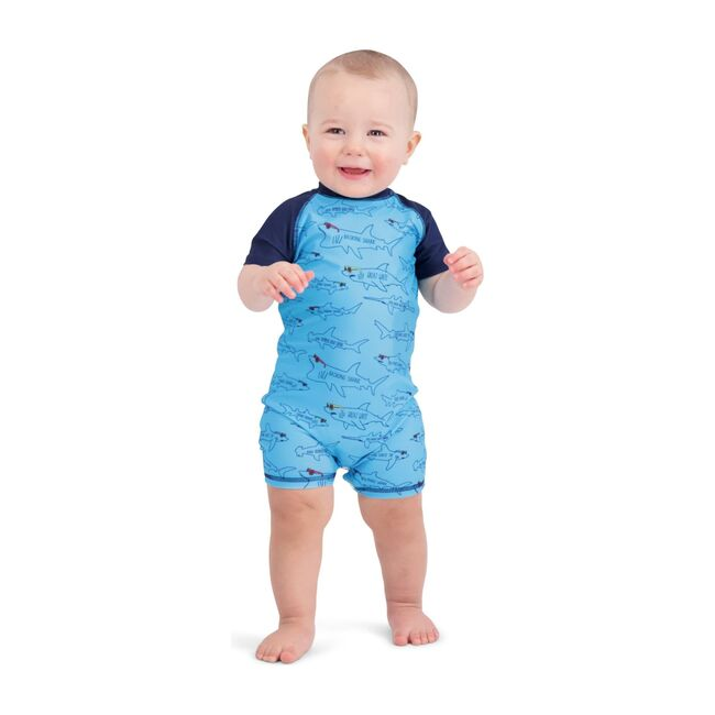 Shark Swim Romper, Aqua