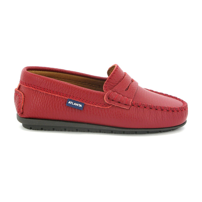 Toddler Plain Vamp Moccasin in Smooth Leather, Red - Flats - 1