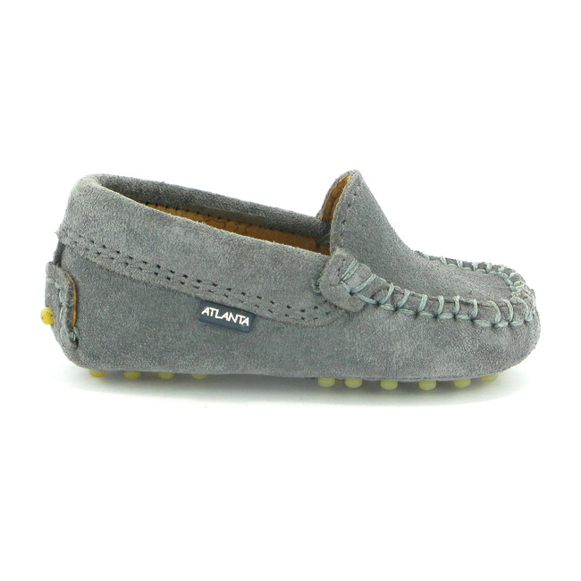 Toddler Plain Vamp Moccasin in Suede Leather, Light Grey