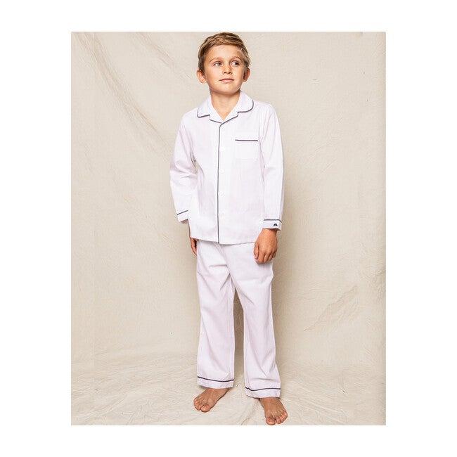 White Pajamas with Navy Piping