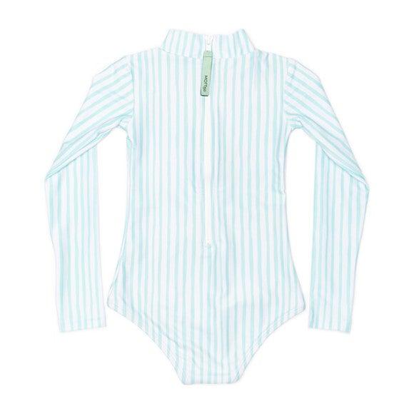 Mini Kelly Girls LS One Piece Swimsuit, Sea Glass Stripe