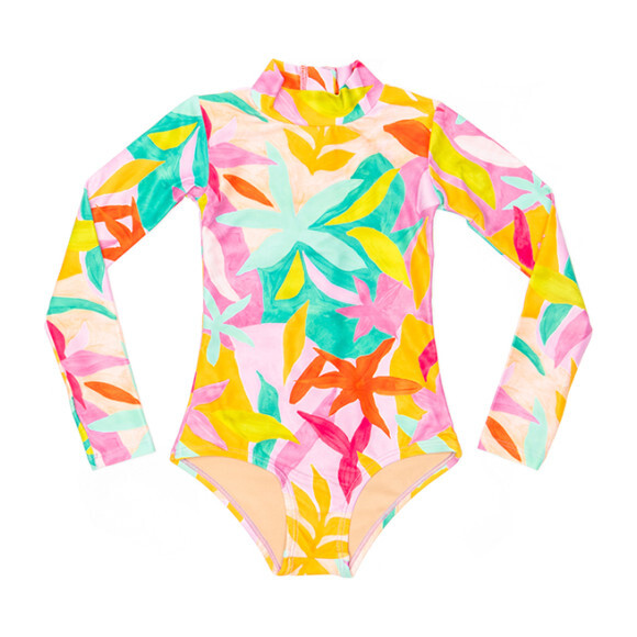 Mini Kelly Girls LS One Piece Swimsuit, Brushed Flora