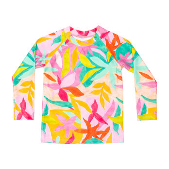 Mini Blake Kids Long Sleeve Rash Guard, Brushed Flora