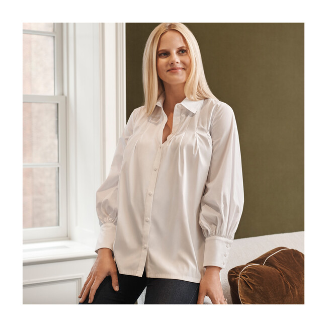 Pleated Button Down Maternity Top