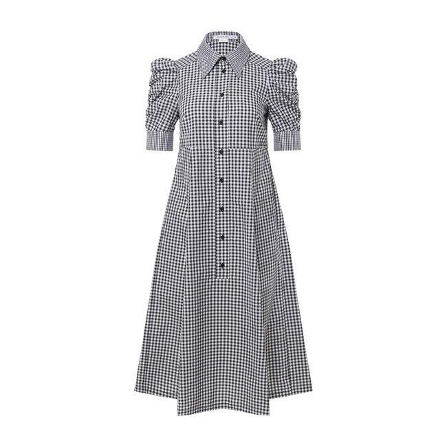 Maternity Puff Sleeve Shirred Dress
