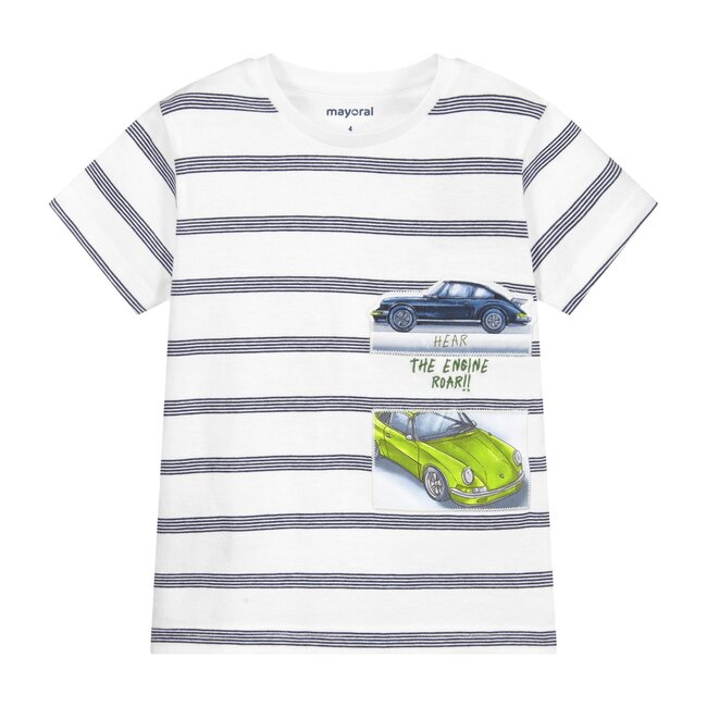 Striped Cars T-Shirt, White