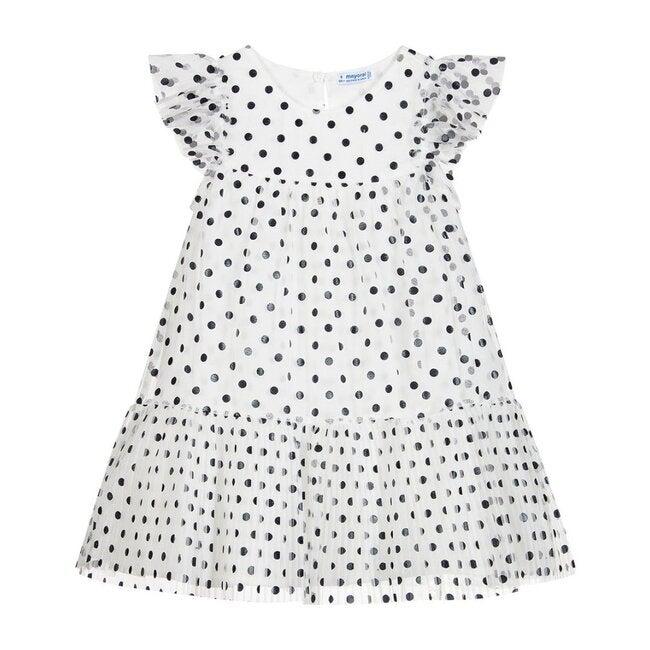 Polka Dot Tulle Dress, White